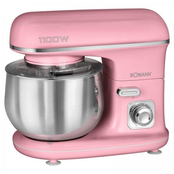 BOMANN Knetmaschine Küchengerät 5L Edelstahl 1100 Watt KM 6030 pink